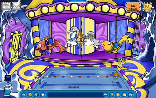 Club Penguin Fall Fair 2009 Carousel in Underground Pool