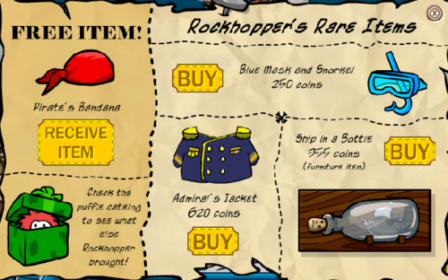 Club Penguin December 2006 Rockhopper's Rare Items
