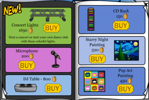 Club Penguin May 2007 Furniture Catalog