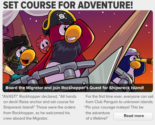 times to meet rockhopper on club penguin