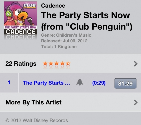 Club Penguin 'The Party Starts Now' iTunes Ringtone