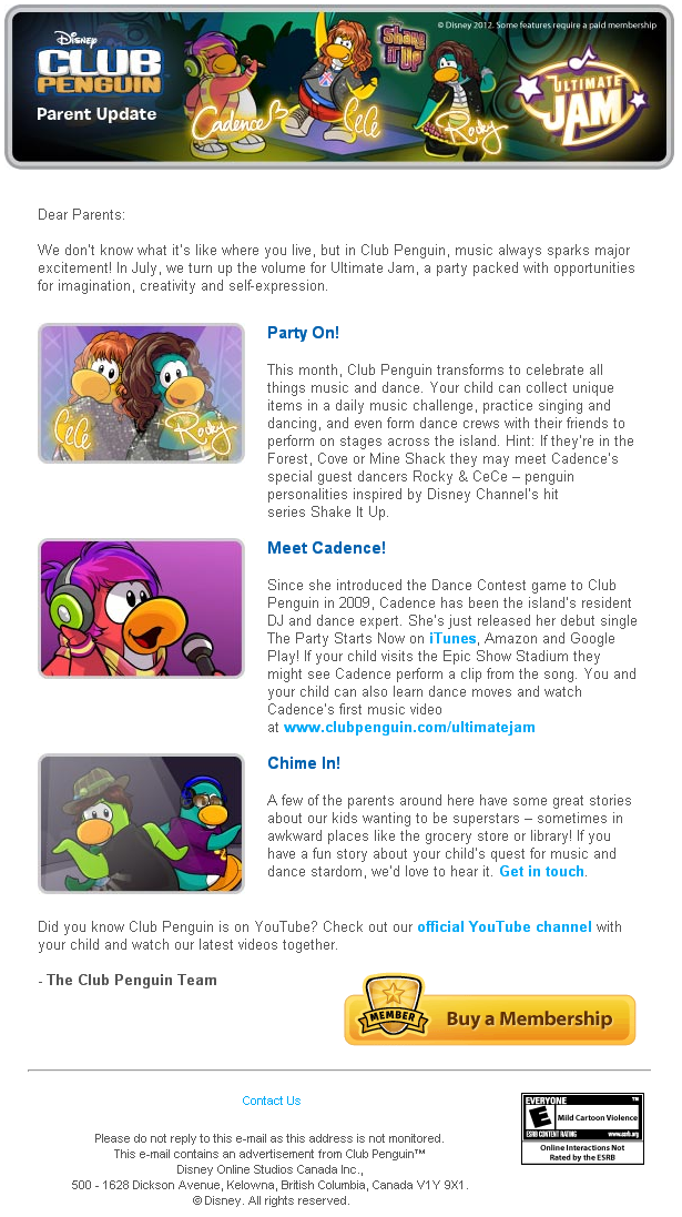 Club Penguin July 2012 Parent Update