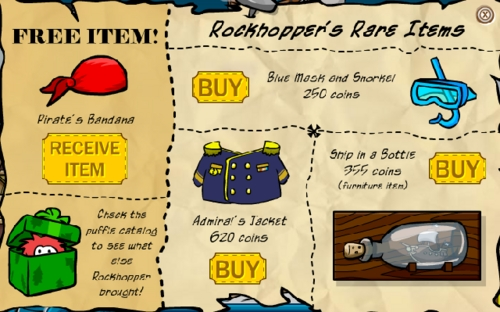 Club Penguin December 2006 Rockhopper Catalog With Red Puffle