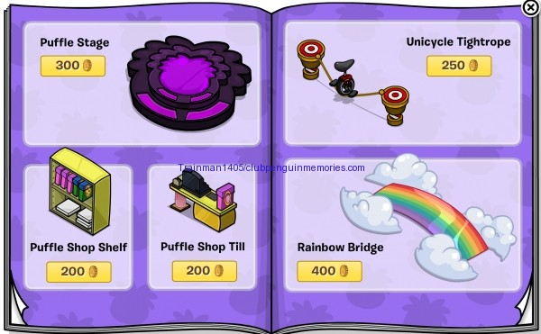 The third page has lots of Puffle items. They are all old.