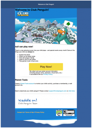 Club Penguin Sending New Welcome Activation Emails