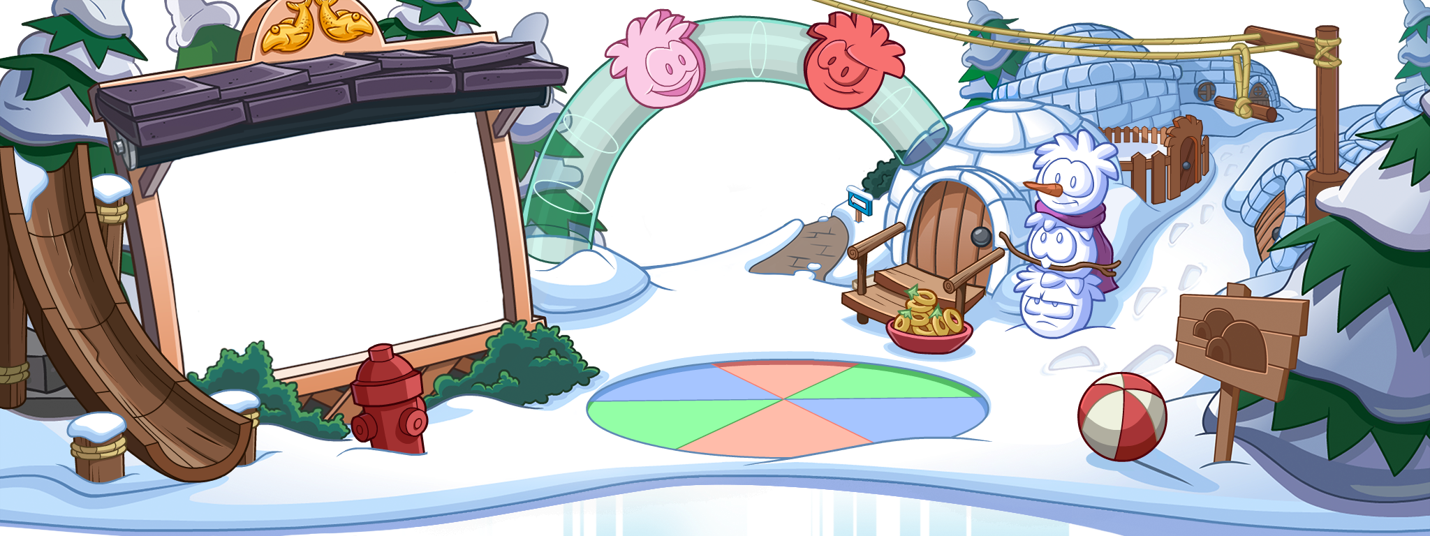 puffle homepage design in club penguin app club penguin island i like it when club penguin adds these decorations to their app