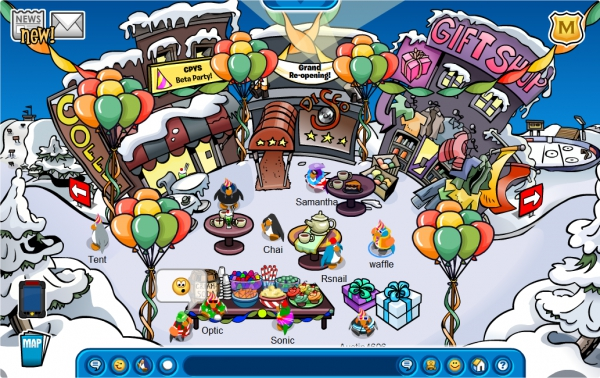 CPYS's grand re-opening beta party, image courtesy of Club Penguin Wikia