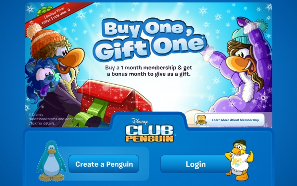 Club Penguin Buy One, Gift One Membership Promotion Login Screen