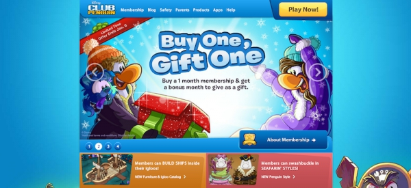 Club Penguin Buy One, Gift One Membership Promotion Homepage Slide